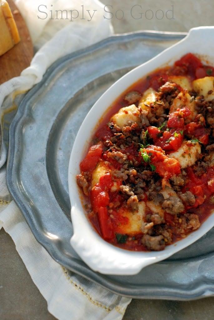 Ricotta Gnocchi with Tomatoes and Crispy Italian Sausage