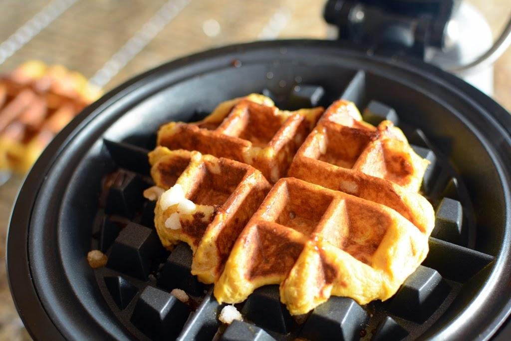 Baked waffle on hot waffle iron