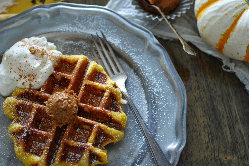 Pumpkin Belgian Waffles with Maple Cream and Speckuloos