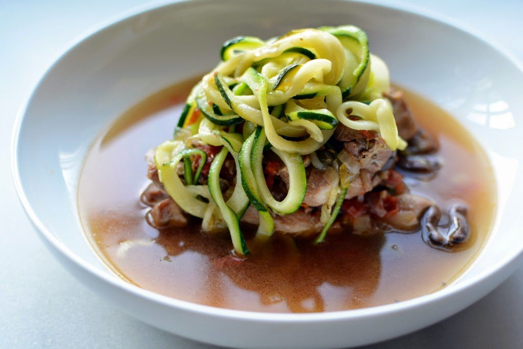 3 1024x683 - Braised Chicken with Olives, Capers and Zucchini Noodles
