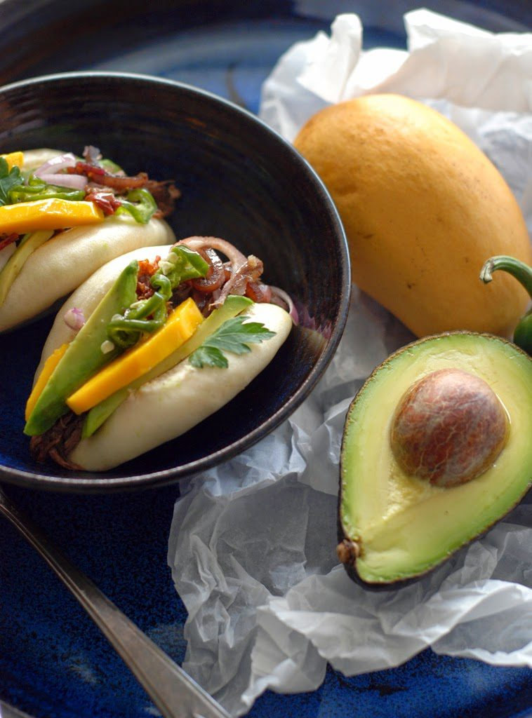 Beef filled steamed buns with avocado and mango