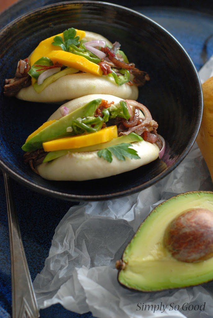 40 685x1024 - Crockpot Barbacoa Beef with Balsamic Glazed Shallots, Pickled Jalapenos, and Mango on a Steamed Bun