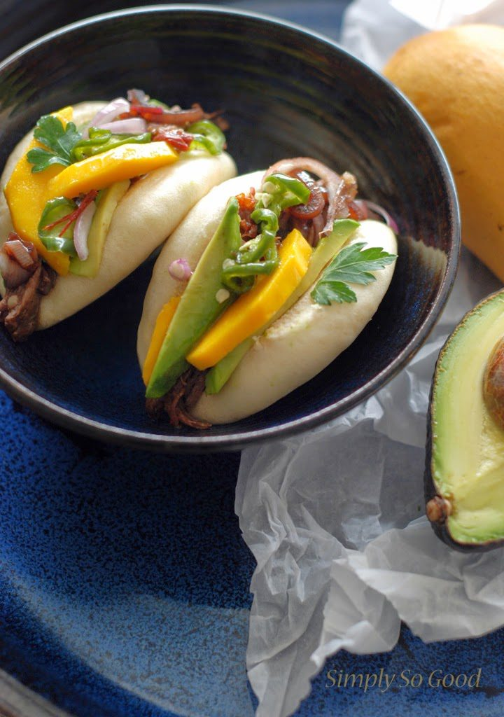 46 720x1024 - Crockpot Barbacoa Beef with Balsamic Glazed Shallots, Pickled Jalapenos, and Mango on a Steamed Bun