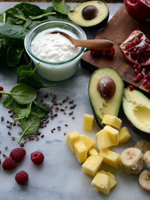 3 - Avocado Smoothie Bowl with Pomegranate and Cocoa Nibs