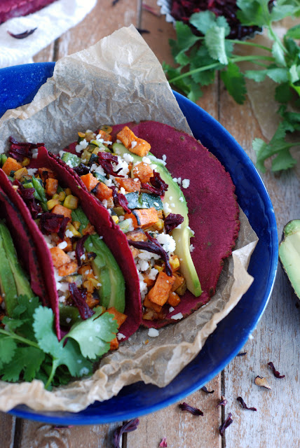 Roasted Veggie Tacos with Hibiscus Tortillas