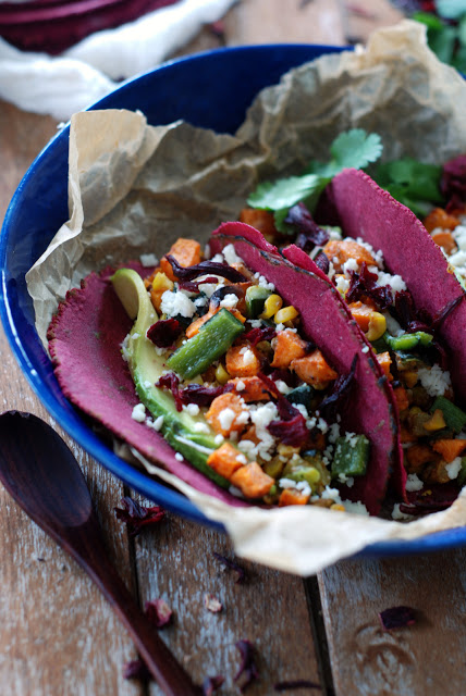 2 - Roasted Veggie Tacos with Hibiscus Tortillas