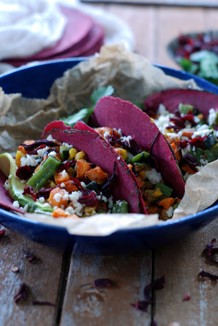 3 - Roasted Veggie Tacos with Hibiscus Tortillas