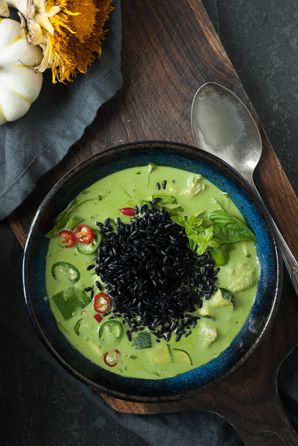 Green Curry with Black Forbidden Rice