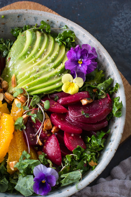 Kale Bowl, Marinated Beets, Fruit, and Pansies
