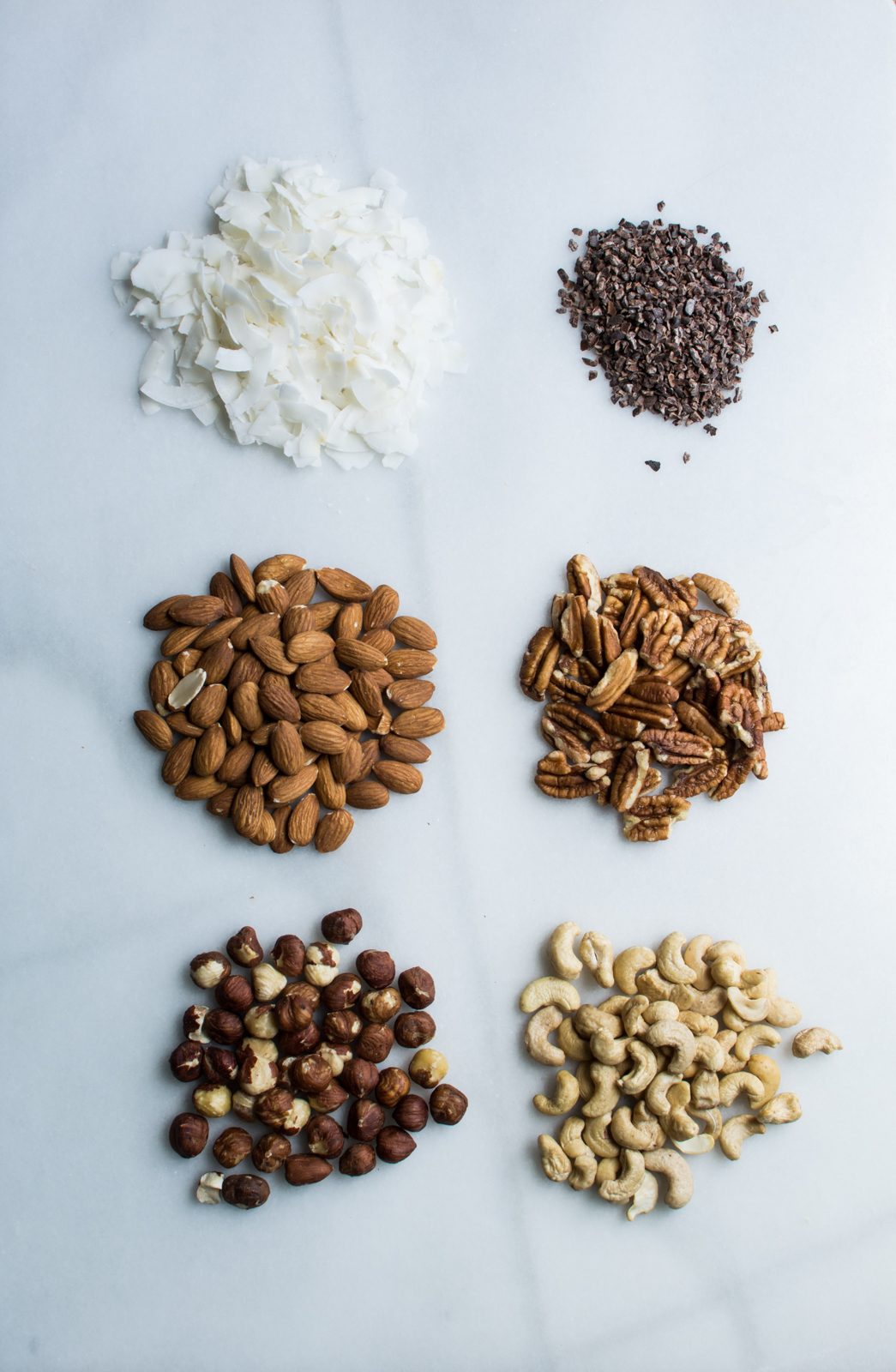Nuts, coconut, cocoa nibs