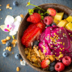 smoothie fresh berries and fruit in bowl