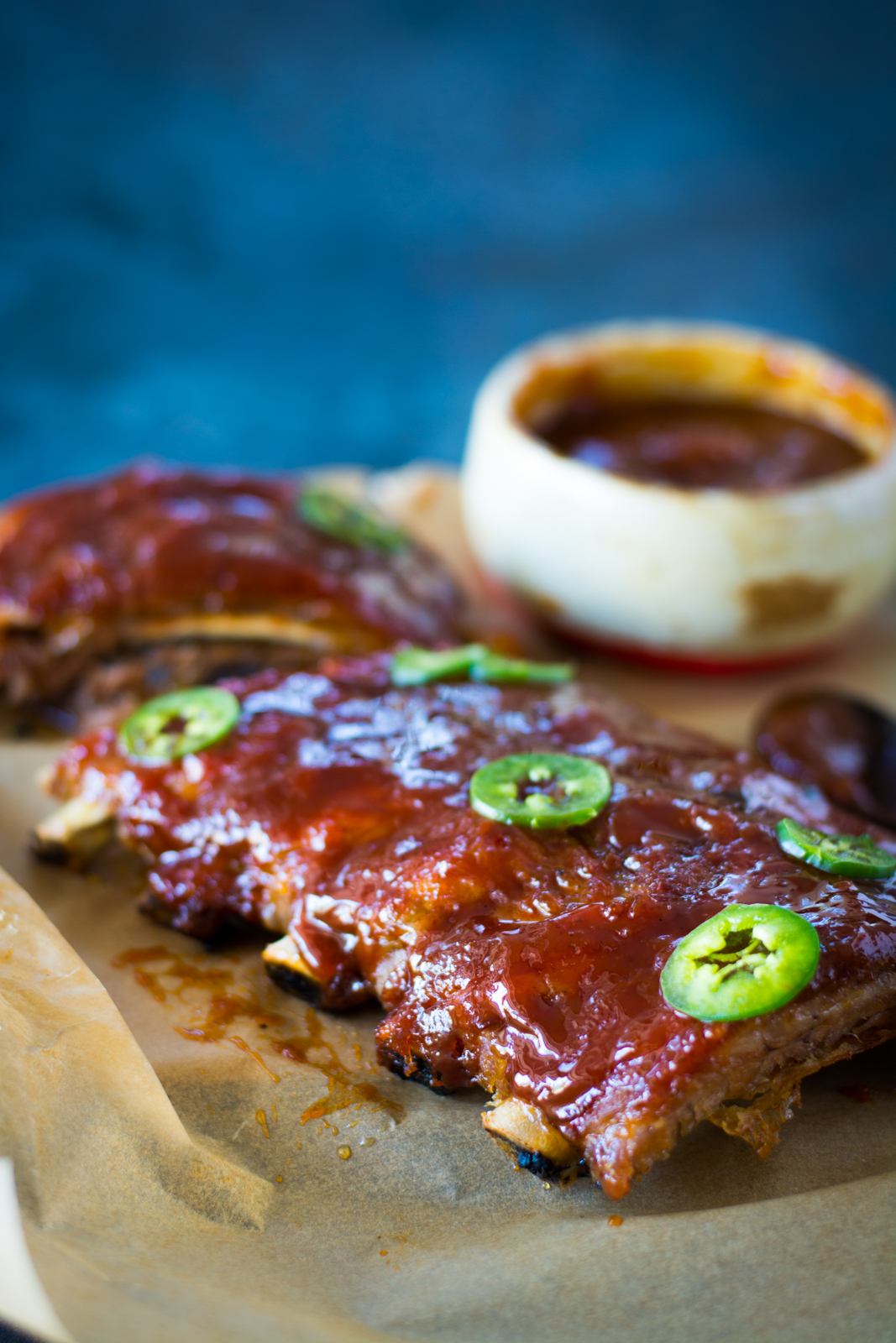 Apricot Ginger Beer Glaze topped with jalapeno slices.