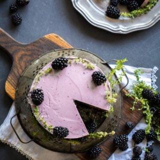 Chocolate Zucchini Cake with Blackberry Buttercream