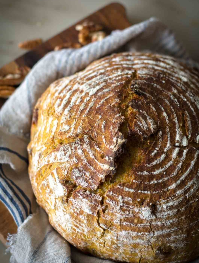No-Knead Pumpkin Pecan Bread