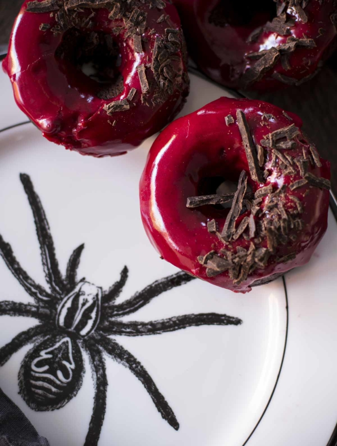 Chocolate Baked Doughnuts with Beet Blood Glaze