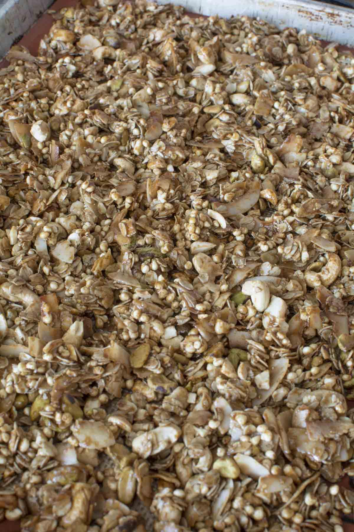 Baked granola on baking sheet
