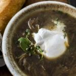 crockpot burrata French onion soup