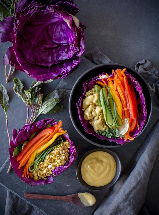 Raw Cashew Mango Cabbage Wraps