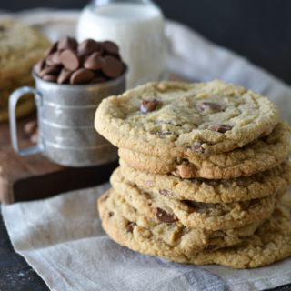 Stack of jumbo size chocolate chip cookies
