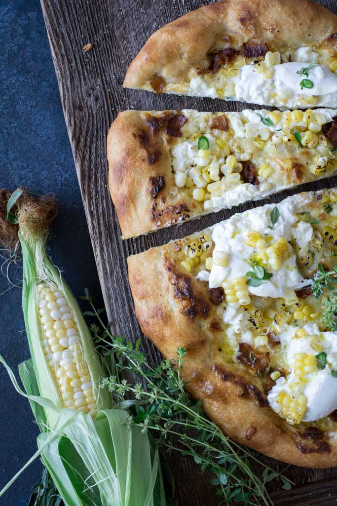 Sweet Roasted Corn Bacon and Burrata Pizza