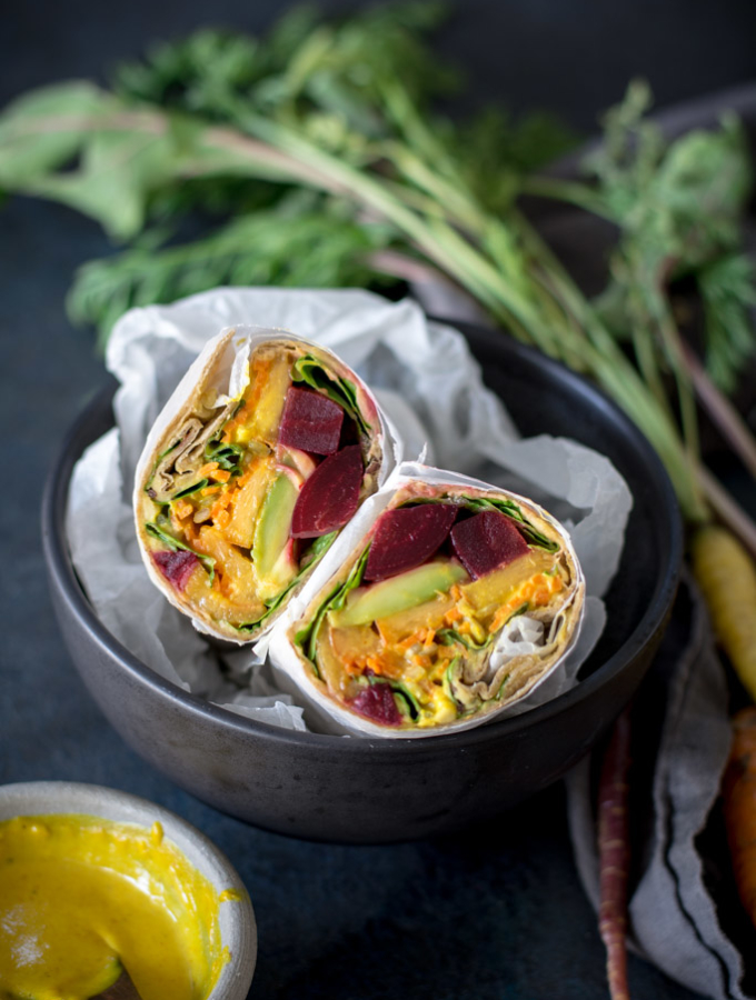 Beet, Peach, and  Avocado Wrap with Turmeric Tahini sauce