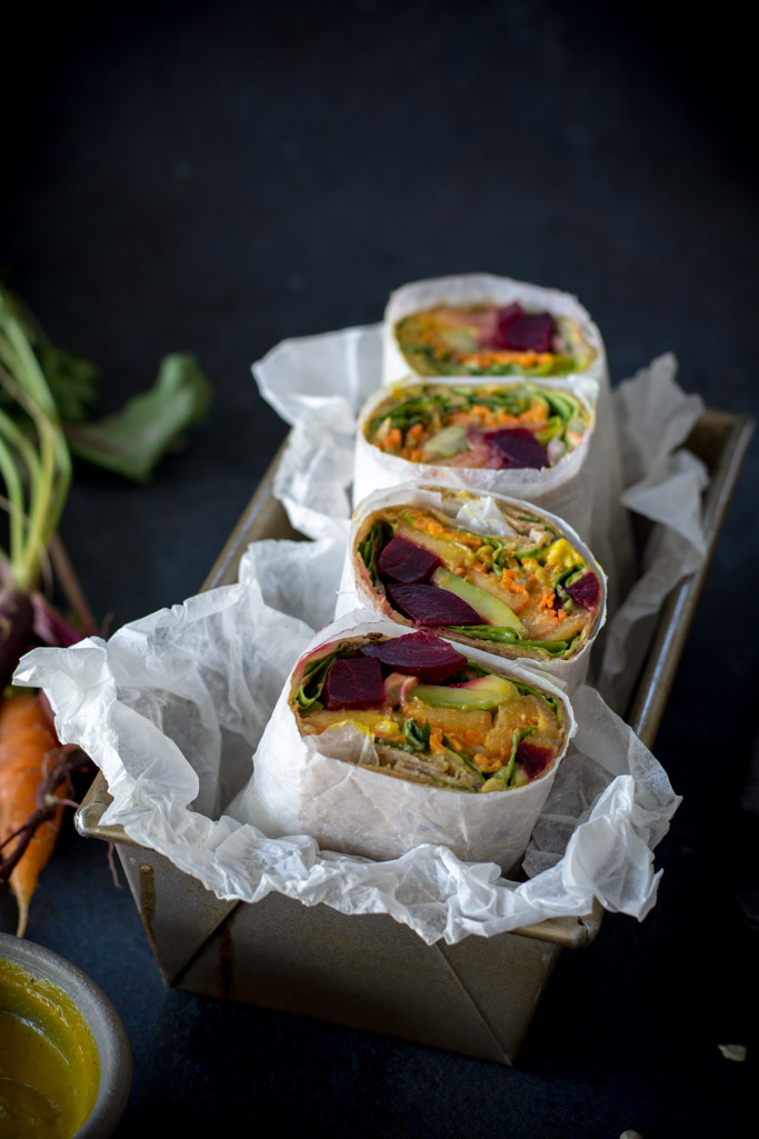 DSC 0523 - Beet, Peach, and  Avocado Wrap with Turmeric Tahini sauce