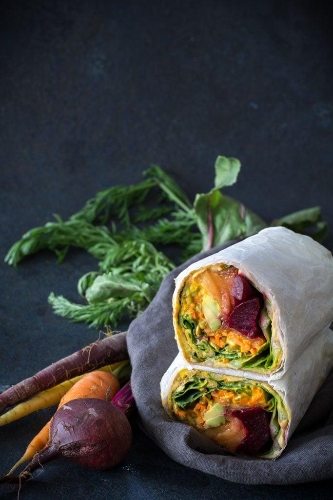 DSC 0548 - Beet, Peach, and  Avocado Wrap with Turmeric Tahini sauce