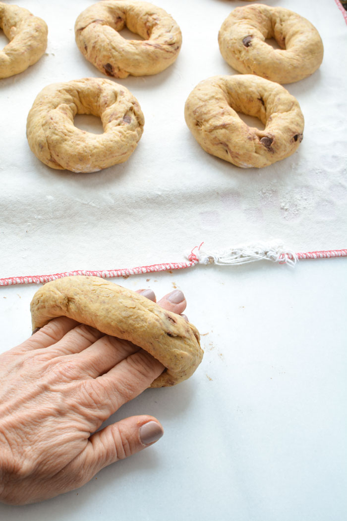 pumpkin bagels rope around hand