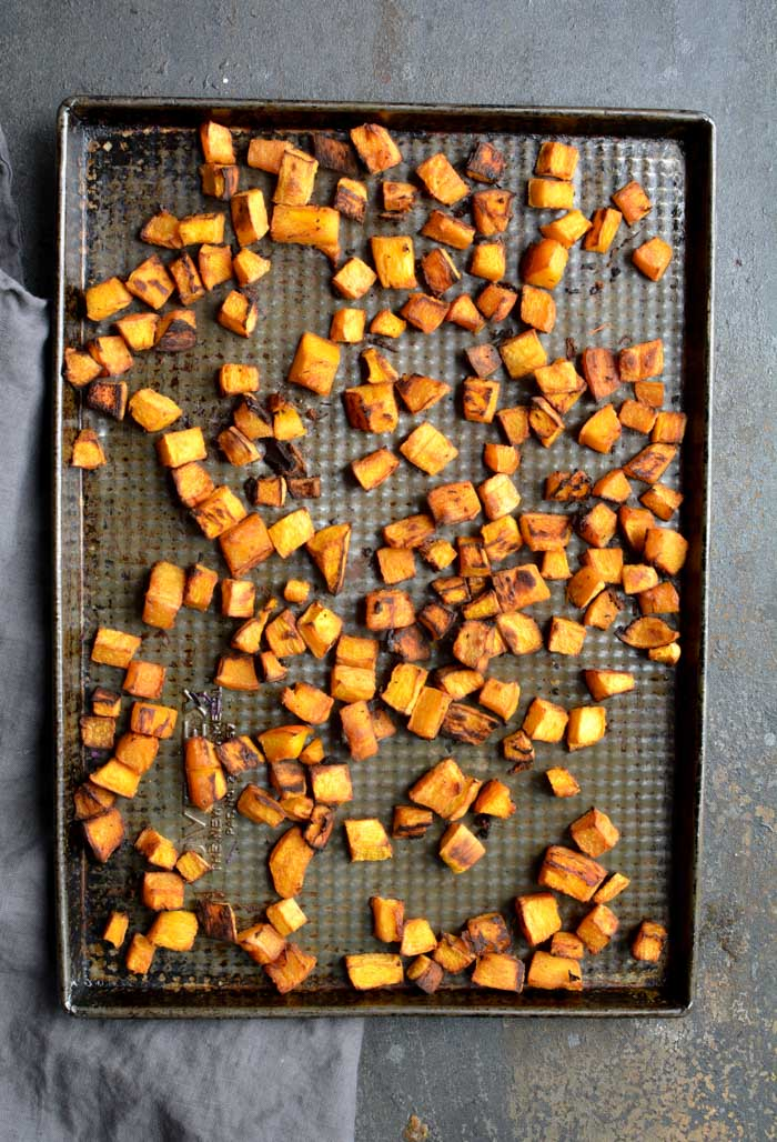roasted pumpkin on baking sheet