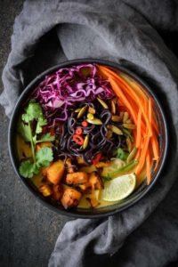 Pumpkin Ramen in a bowl with veggies