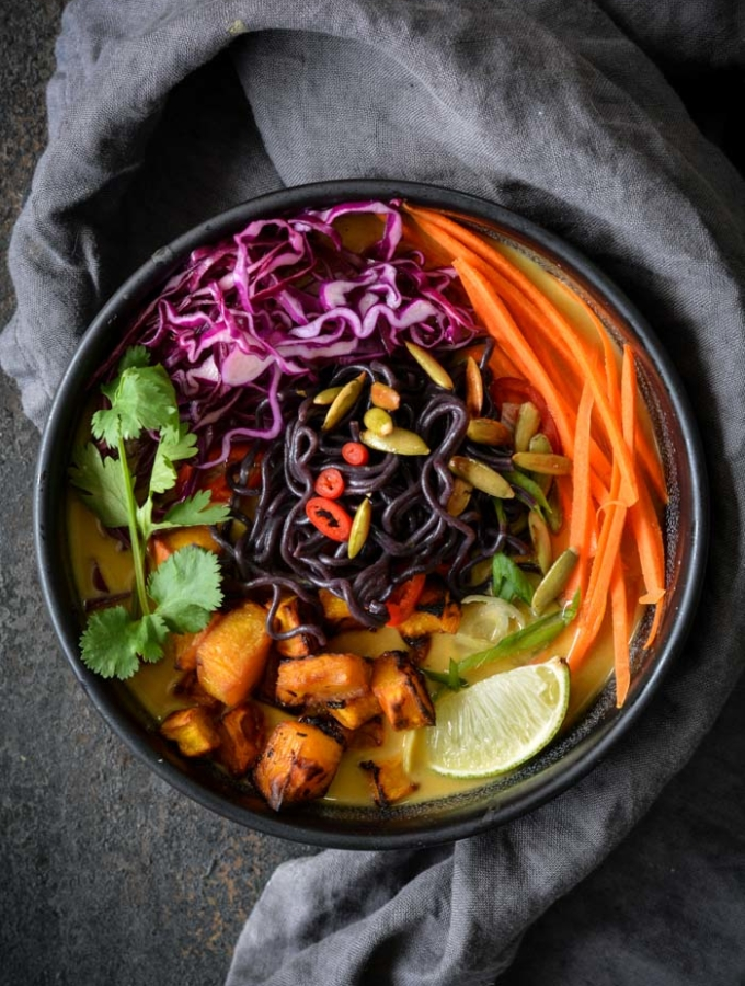 Pumpkin Ramen in a bowl with veggies