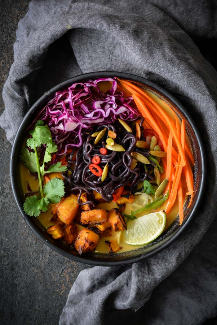 Miso Roasted Pumpkin Ramen in a bowl with veggies