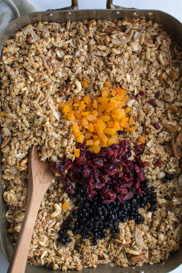 mixed dried fruit on granola