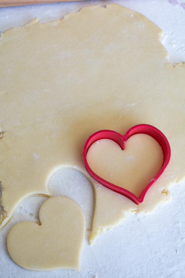 sugar cookie dough with heart cutter
