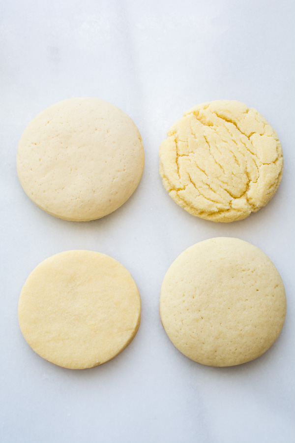 Four round sugar cookies
