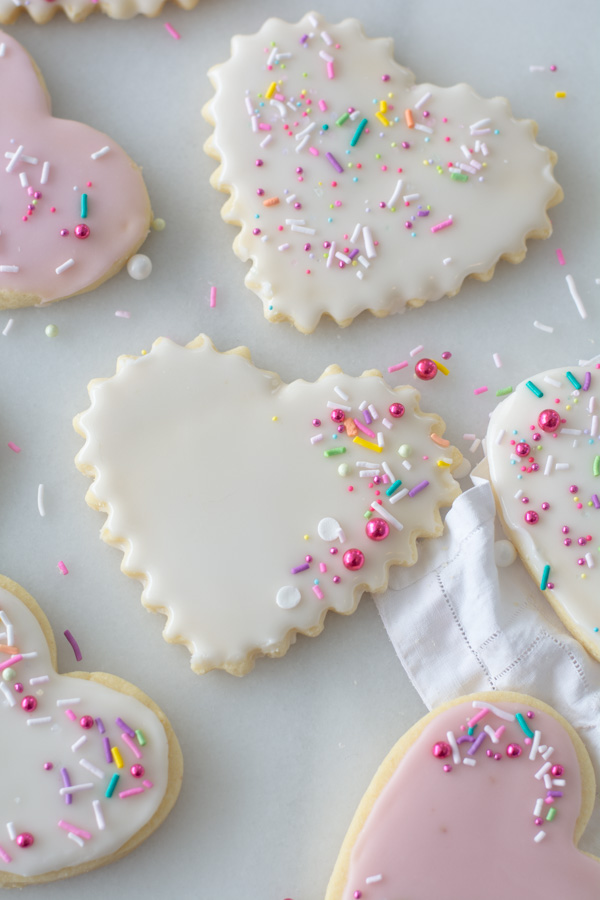 decorated heart shape sugar cookies with sprinkles