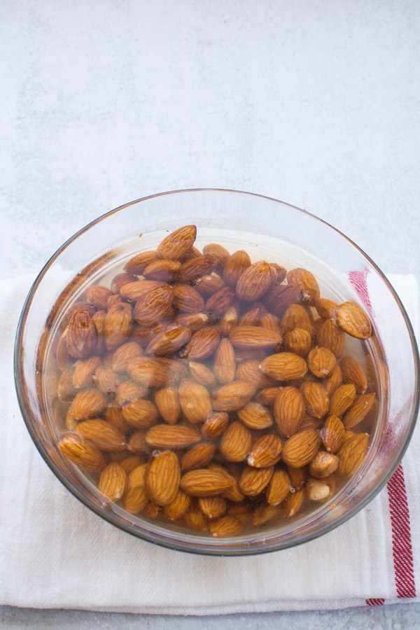 Bowl of almonds covered with water