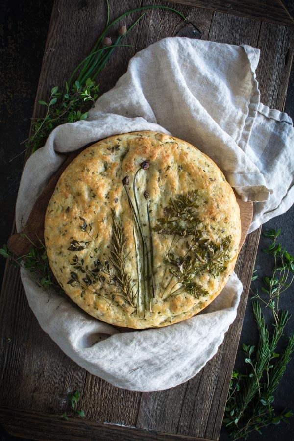 No-knead Herb Focaccia Bread