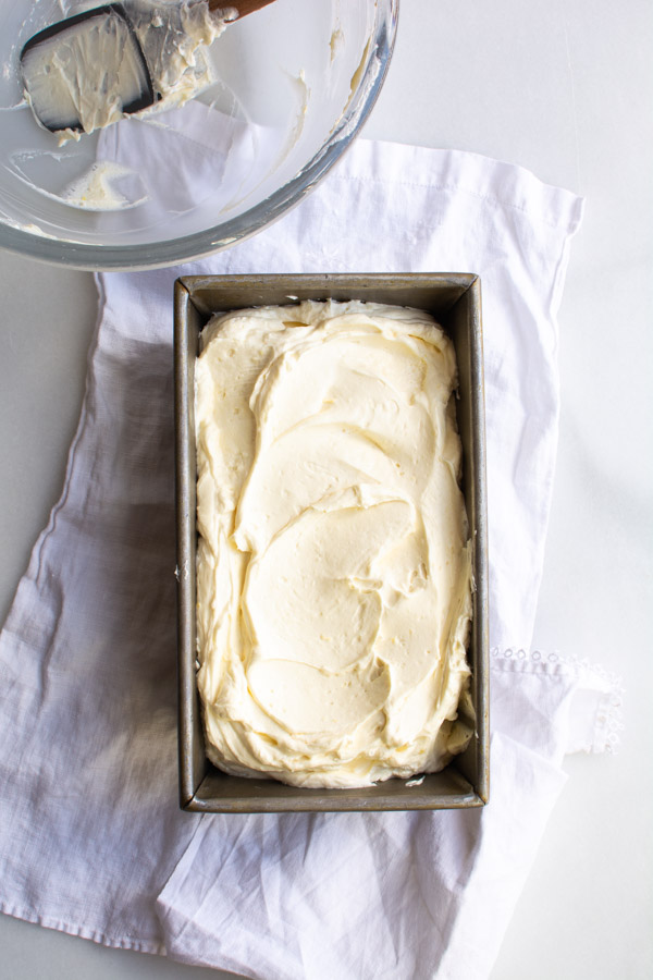 No-churn lemon curd ice cream in a bread pan