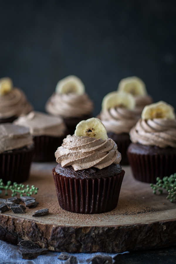 Chocolate Banana Cupcakes with Nutella Icing