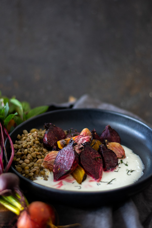 Roasted Beets with Mint Yogurt