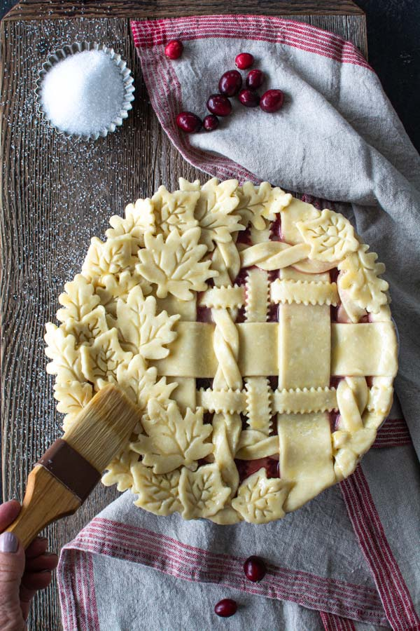 Pie with decorative lattice crust brushed with egg