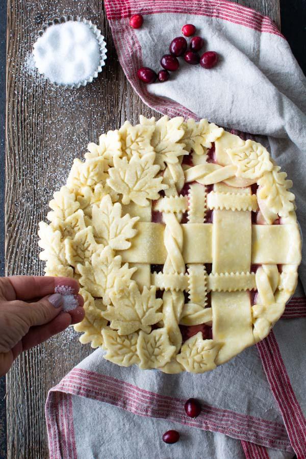Decorative pie crust with leaves and lattice