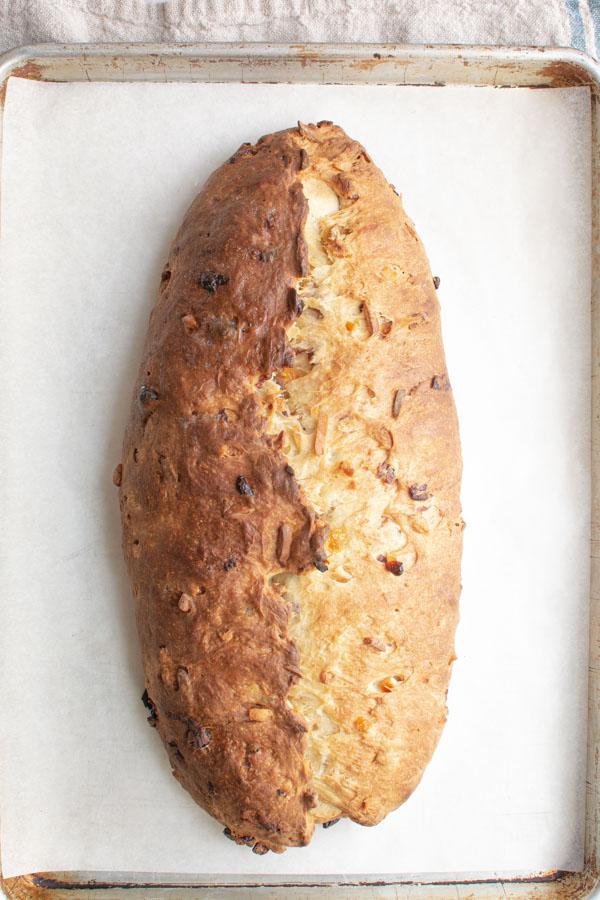 Baked loaf of stollen