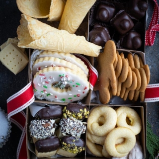 Box filled with assortment of Christmas cookies