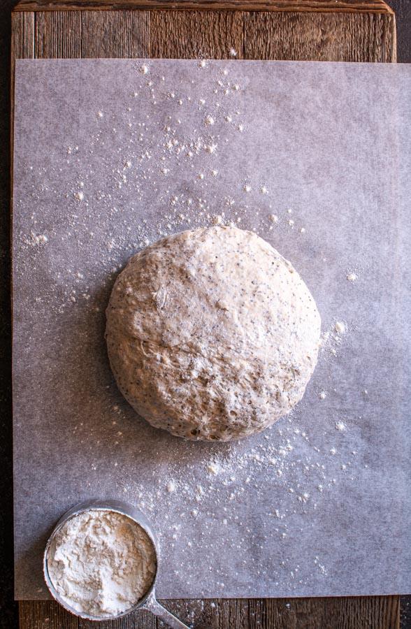 Round kneaded boule of Dakota bread