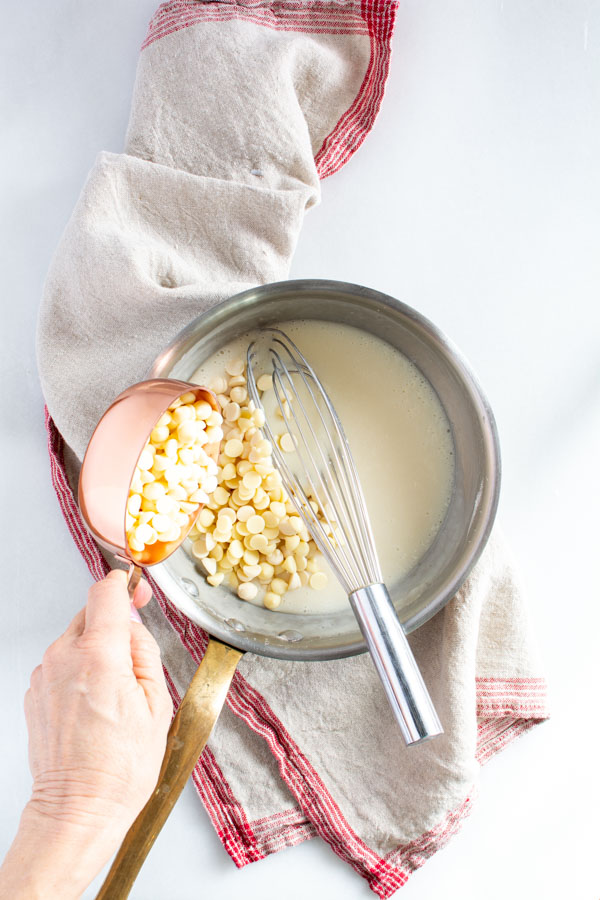 white chocolate chips added to hot roux mixture