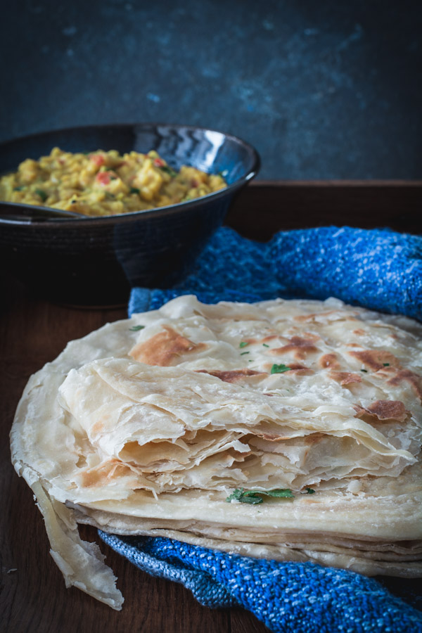 Stack of flakey paratha